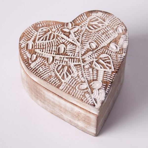 """Herzdose """"Mauth"""" aus Holz L, braun/weiß, L 15 cm, B 15 cm, H 5 cm"""