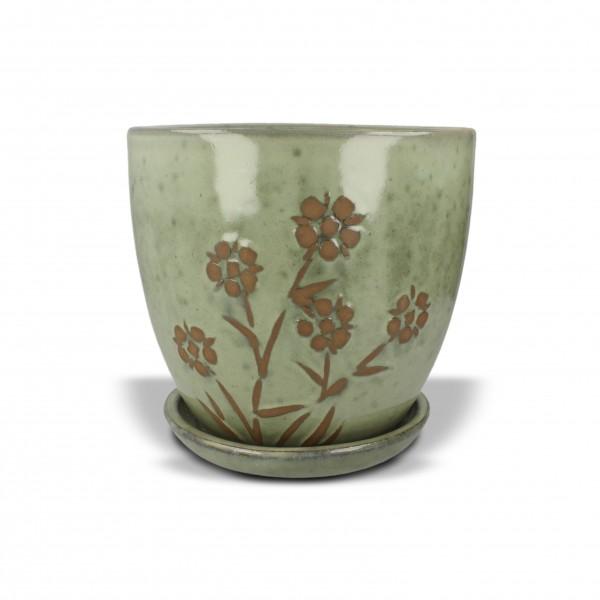 Pflanztopf mit Blumenmuster, grün, H 18 cm, Ø 17 cm