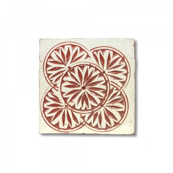 Kachel 'majolique Craquelé', rot, weiß, T 10 cm, B 10 cm, H 1 cm