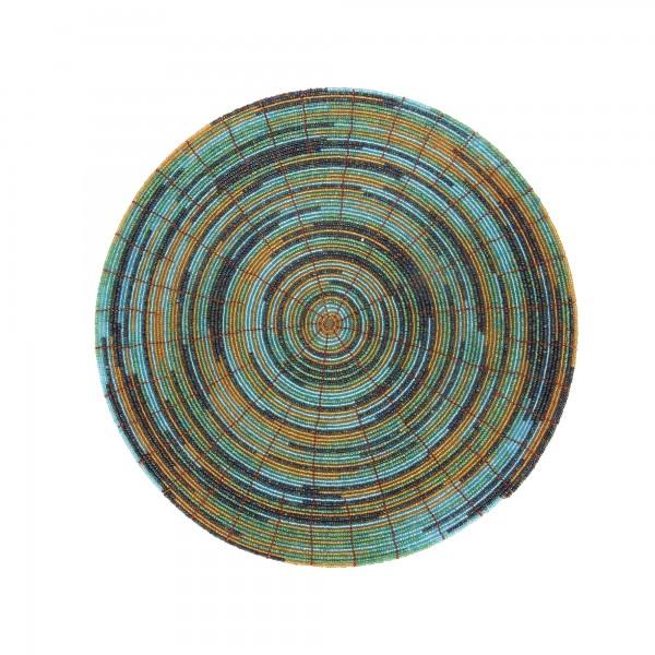 Glasperlenablage, türkis, orange, Ø 30 cm, H 0,3 cm