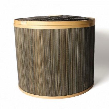 Wäschekorb mit Deckel aus Bambus L, braun, Ø 40 cm, H 34 cm