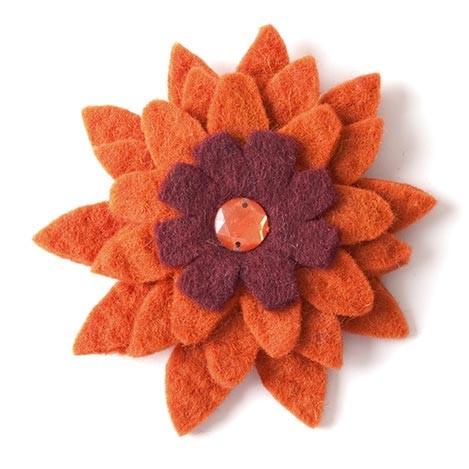 "Brosche ""Gerbera"", orange/rot, Ø 10 cm"