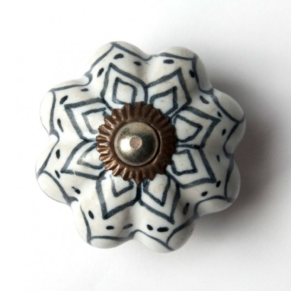 """Türknauf """"Blume"""", weiß/schwarz, Ø 4,5 cm"""