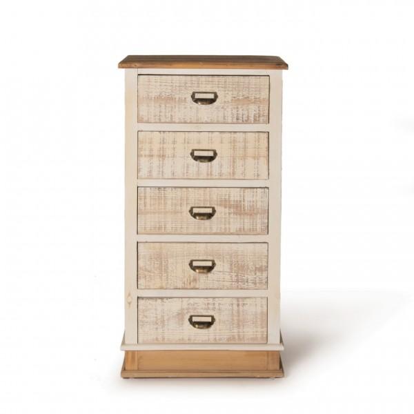 """Schubladenschrank """"Marie"""" mit 5 Schubladen, antik-weiß, T 35 cm, B 50 cm, H 99 cm"""