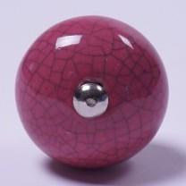 Keramik Möbelknopf, handglasiert, pink, Ø 3,5 cm