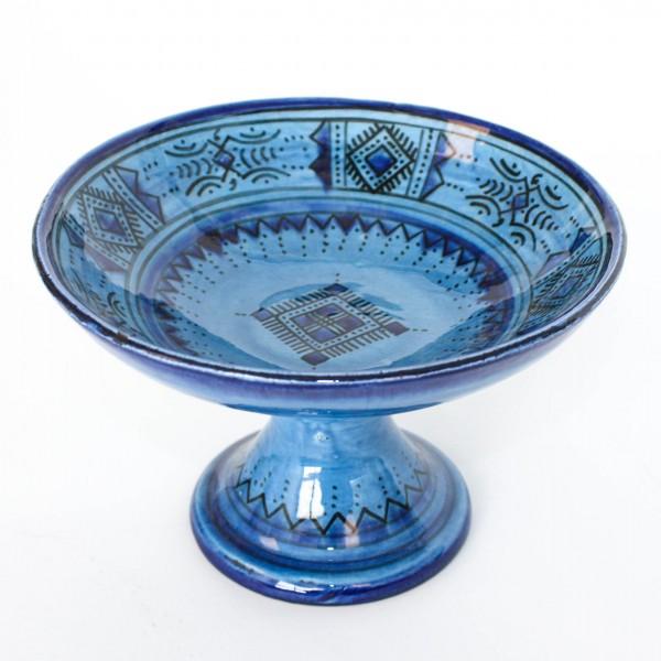 Safischale mit Fuß, blau, H 13 cm, Ø 20 cm