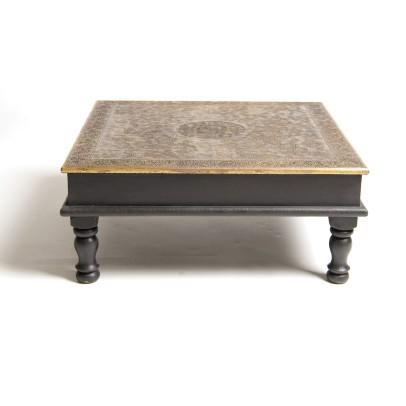 """Teetisch """"Bajot"""" mit Metallverzierung, schwarz/bronze, L 45 cm, B 45 cm, H 19 cm"""