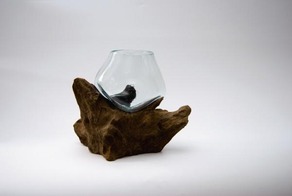 Wurzelholz-Glasvase, B ca. 20 cm, H ca. 20 cm