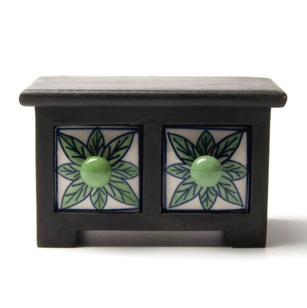 Schubladentruhe mit 2 Schubladen, schwarz/weiß/grün, L 10 cm, B 16,5 cm, H 10 cm