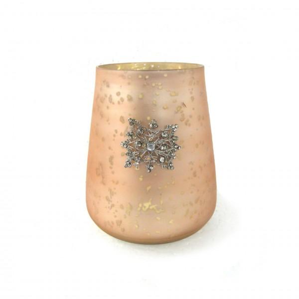 """Teelichtglas """"Schneeflocke"""", orange, Ø 13 cm, H 12 cm"""