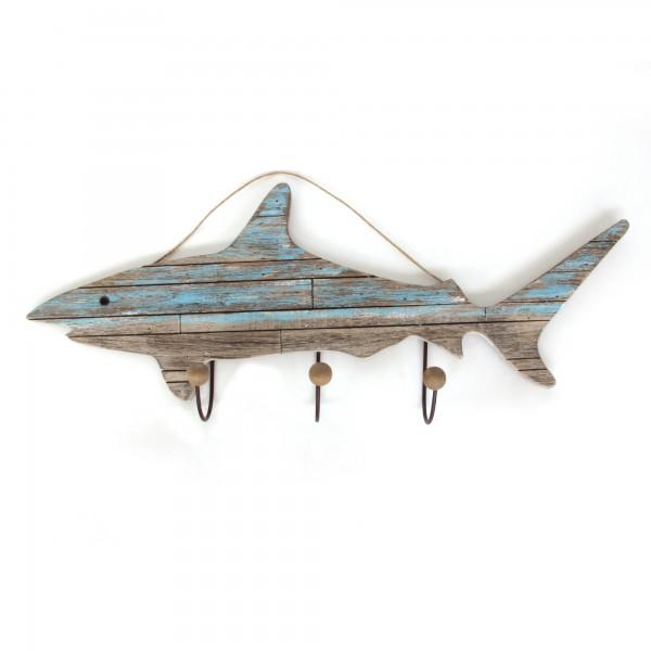 3er Haken 'Hai', natur, hellblau, T 10 cm, B 86 cm, H 35 cm