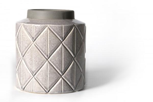 Vase, aus Steingut, hellgrau, Ø 19 cm, H 21 cm