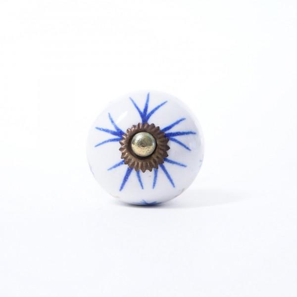 Keramik Möbelknopf, handglasiert, blau/weiß, Ø 3,8 cm