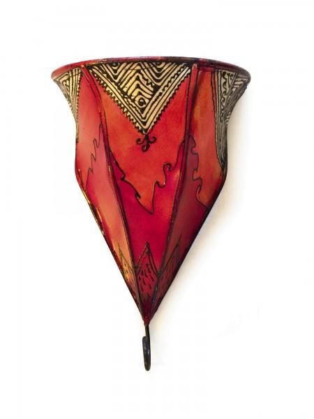Wand-Lederlaterne, rot/orange, T 22 cm, B 22 cm, H 34 cm