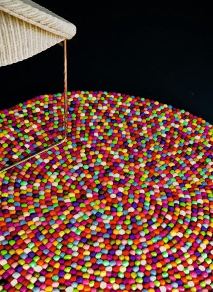 Filz-Teppich 'Multi', multicolor, T 90 cm, B 90 cm, H 0 cm