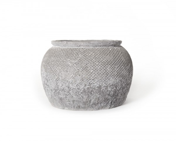 Übertopf, aus Zement, grau, Ø 19 cm, H 13 cm