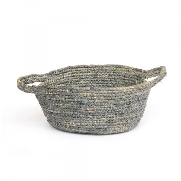 Korb 'Norcia' M, grau, natur, Ø 23 cm, H 10 cm