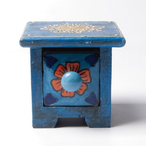 Schubladentruhe mit 1 Schublade, hellblau, L 10 cm, B 10 cm, H 9 cm