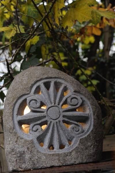 Gartenleuchte mit Ornament, natur, H ca. 30 - 35 cm