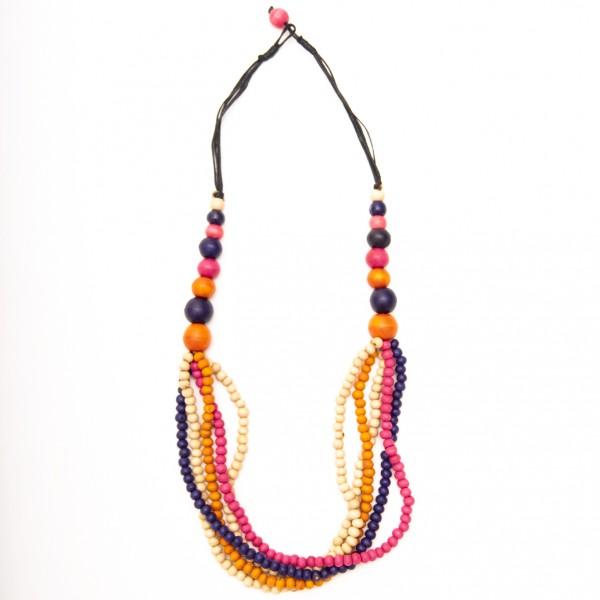 Halskette mit Holzkugeln, orange/lila