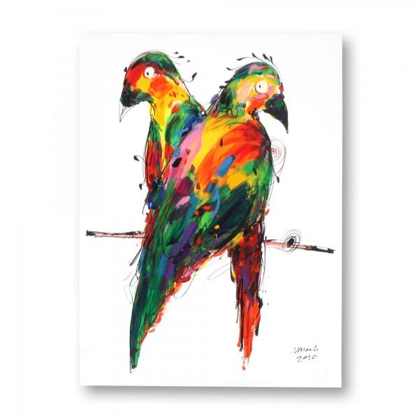 Wandbild '2 Papageien', multicolor, T 2,5 cm, B 60 cm, H 80 cm