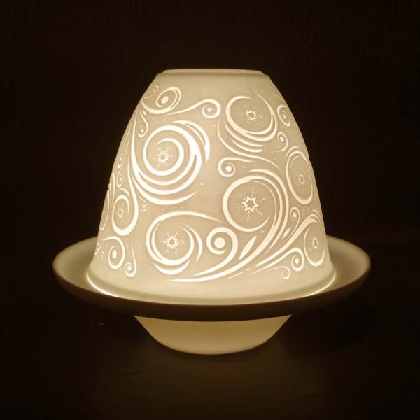 """Windlicht """"Circles"""" aus Porzellan, Ø 10 cm, H 9 cm"""