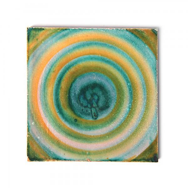 handglasierte Kachel 'rayon', grün, L 10 cm, B 10 cm, H 1 cm