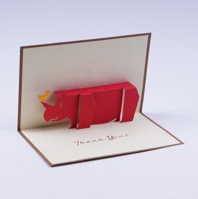 "Handgefertigte Popup Grußkarte ""Rhino Danke"", inklusive Umschlag, L 10 cm, B 15 cm"