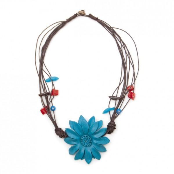 """Halskette """"Blume"""", türkis"""