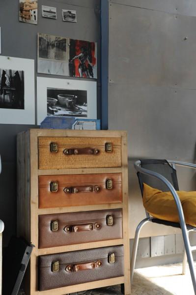 Kommode 'Luggage', mit 4 Schubladen, L 38 cm, B 54 cm, H 88 cm