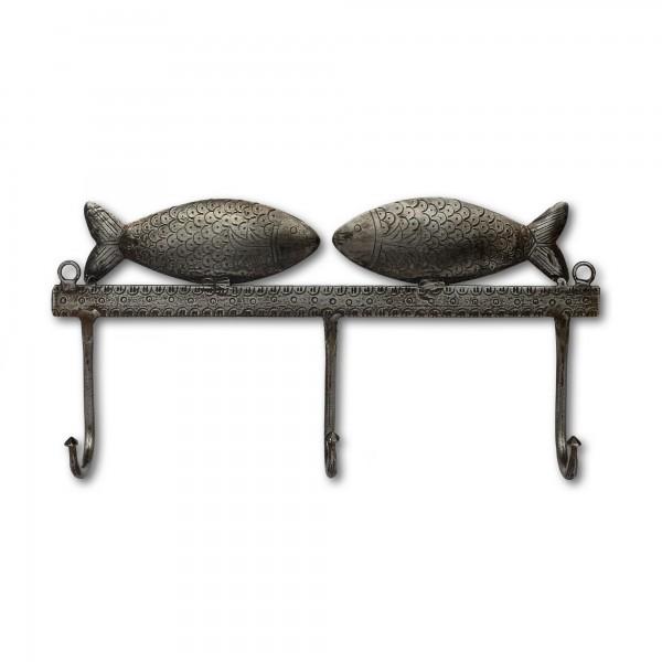 3er Wandhaken 'Fische' , silber, T 30,5 cm, B 5 cm, H 14 cm
