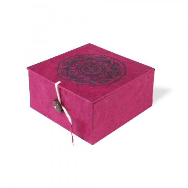 Lokta Box Mandala, rotbraun, schwarz, T 11 cm, B 11 cm, H 5,5 cm