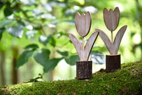 Tulpe, Holz, H 18 cm