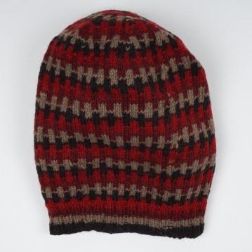 Wollmütze rot/schwarz, handgestrickt in Nepal