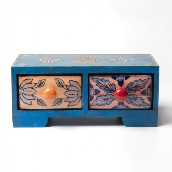 Schmucktruhe mit 2 Schubladen, blau, L 11 cm, B 23,5 cm, H 10 cm