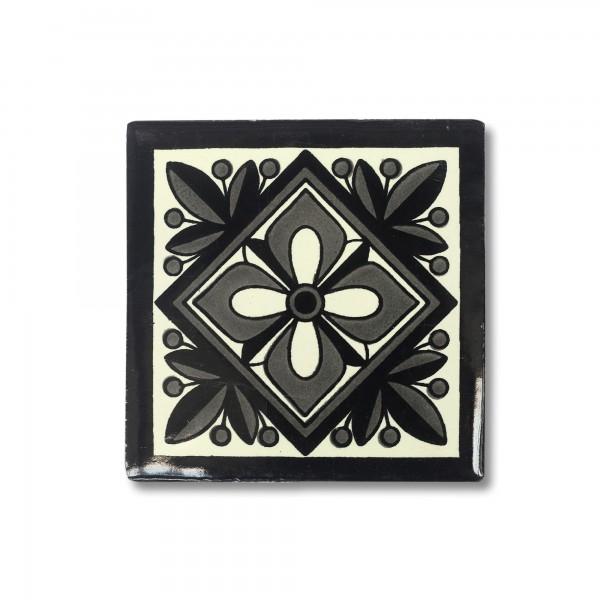 Kachel 'Puebla', schwarz, grau, weiß, T 10 cm, B 10 cm, H 0,5 cm