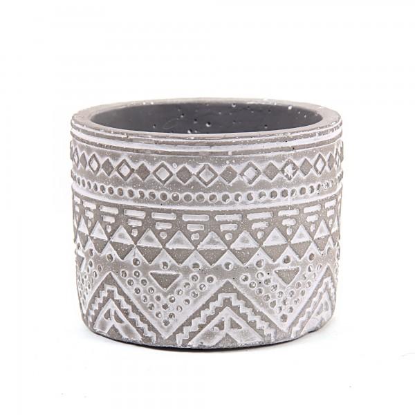 Zementtopf 'Maori' rund, grau, weiß, Ø 11,5 cm, H 9 cm