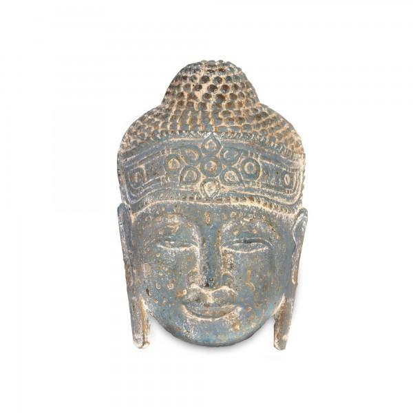 Buddhakopf-Panel, blau, T 11 cm, B 20 cm, H 30 cm