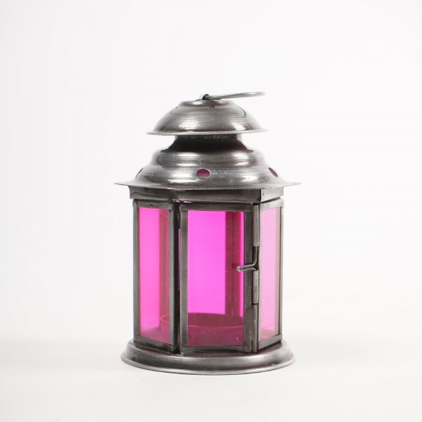 "Laterne ""Achteck"", silber/pink, Ø 8 cm, H 12 cm"