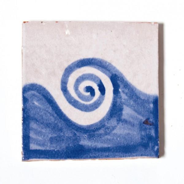 """Fliese """"vague"""", blau/weiß, L 10 cm, B 10 cm, H 1cm"""