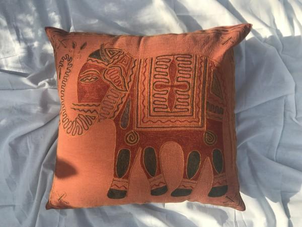 Kissenhülle 'Elefant', orange, grün, T 60 cm, B 60 cm