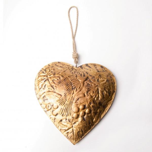 Metallherz, gold, B 24 cm, H 25 cm