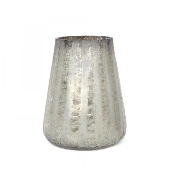 Windlicht 'Argent', silbergrau, Ø 13 cm, H 15 cm