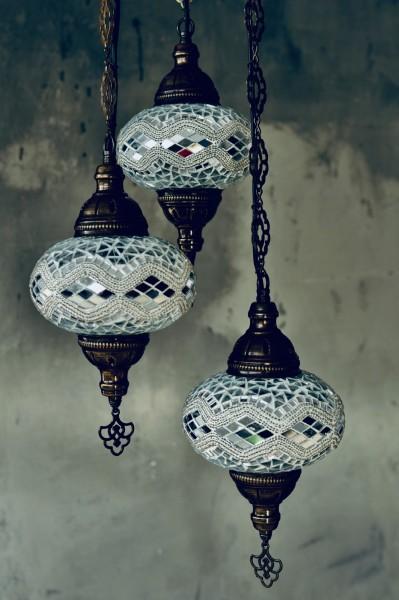 Mosaikkronleuchter 3 Leuchten 'Kilim', weiß, T 30 cm, B 30 cm, H 108 cm