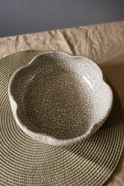 Keramikschale 'Craquelé' gewellt, grau, Ø 21 cm, H 7 cm
