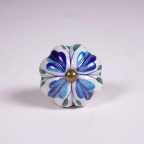"""Keramik Möbelknopf """"Blume"""", handglasiert ,weiß/blau, Ø 4,5 cm"""