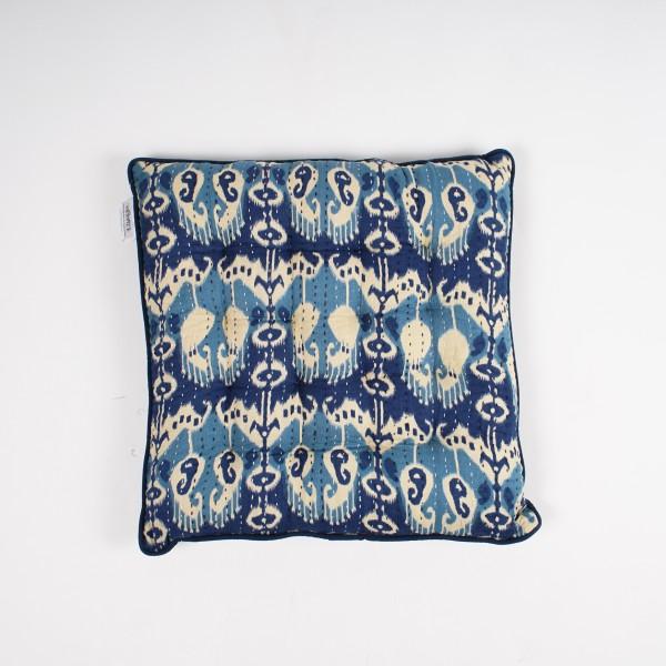 "Sitzkissen ""Pelikan"", blau/beige, L 40 cm, B 40 cm"