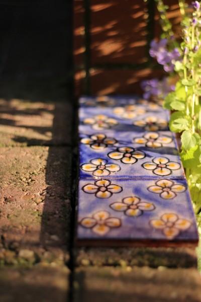 Fliese '5 fleurs', blau, L 10 cm, B 10 cm, H 1 cm