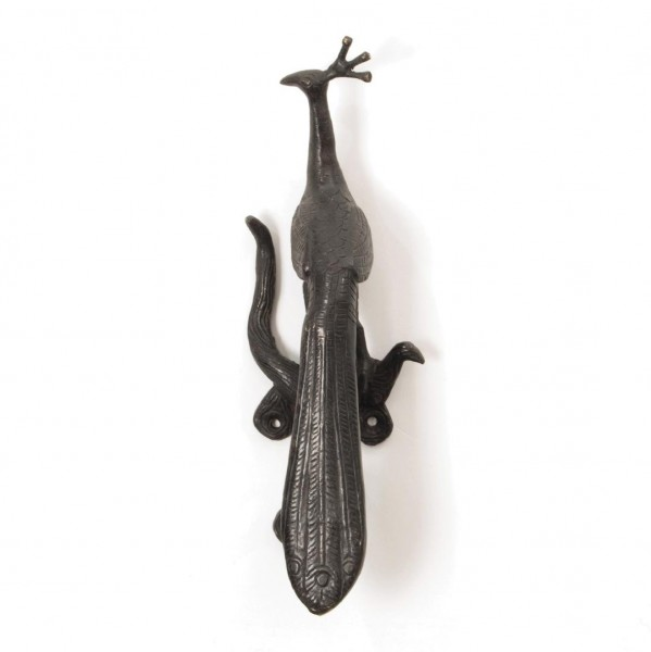 "Türgriff ""Pfau"", bronze, L 6,5 cm, B 7 cm, H 27 cm"