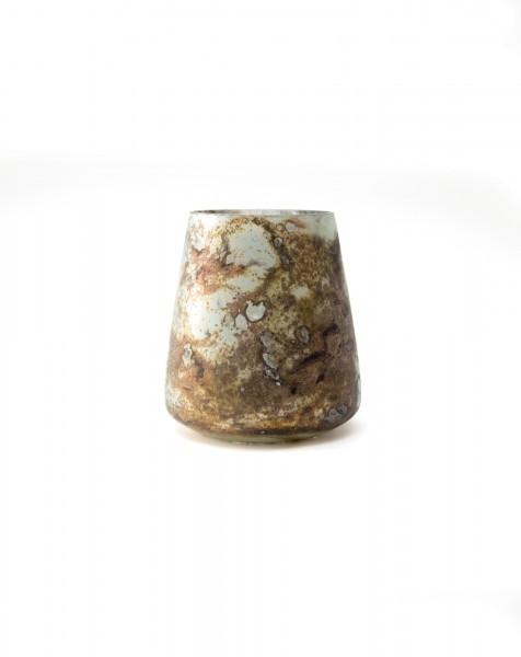 Windlicht 'Conique', türkis-marmoriert, Ø 12 cm, H 12 cm